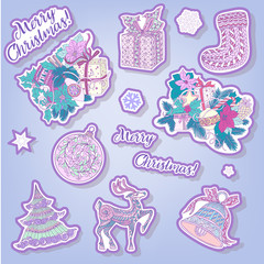 fashion patches with Christmas symbols: deer, bell, ball, fir-tr