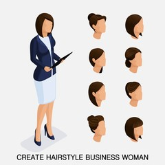 Trendy isometric set 9, women's hairstyles. Young business woman, hairstyle, hair color, isolated. Create an image of the modern business woman. Vector illustration