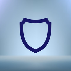 Flat paper cut style icon of a shield