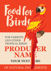 label design feed tropical birds with a picture of a parrot