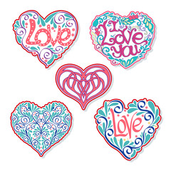 Set of Love Heart fashion patch, badges, stripes, stickers. This