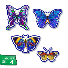 Fashion patch set, badges with Butterflies. This illustration ca