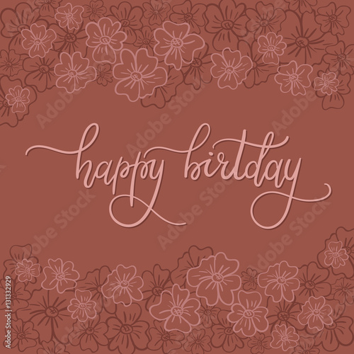 Quot happy birthday hand lettering greeting card modern