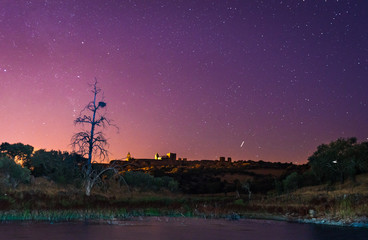 Alqueva lake near Monsaraz village in the night, Portugal