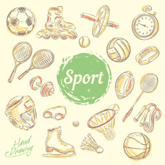 Sport sketch equipment. Drawing doodle collection, isolated. Vector