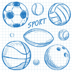 Ball sketch set simple outlined isolated on paper notebook.
