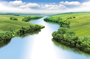 Zigzag river flows between summer valleys, color illustration