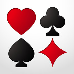Card suit Vector illustration Stencil with card suits: Hearts, Clubs, Spades and Diamonds realistic style