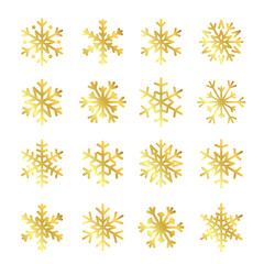 Gold Christmas snowflakes set icons. Golden silhouette snow flake sign isolated on white background. Elegant design card, greeting, decoration. Shine texture. Symbol of winter Vector illustration