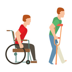 Trauma accident wheelchair safety vector people silhouette