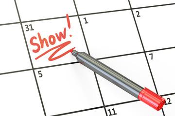 Show date on calendar concept, 3D rendering