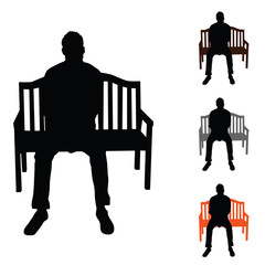 man silhouette siting on chair set color illustration on white
