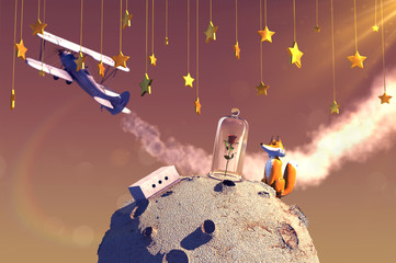 3D illustration of fairytale The Little Prince