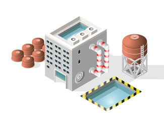 Isometric High Quality City Element with 45 Degrees Shadows on White Background. Factory.