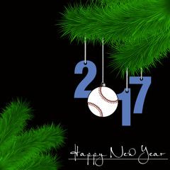 Baseball ball and 2017 on a Christmas tree branch
