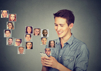 man using smart phone has many contacts in mobile phonebook