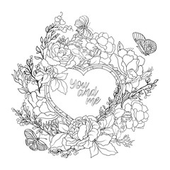 Rose flower background with space for text. Outline drawing colo