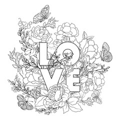 Rose flower background with word love. Outline drawing coloring