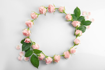 Floral wreath frame on white background