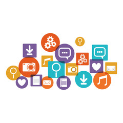 Social media and multimedia icon set. Apps communication and digital marketing theme. Isolated design. Vector illustration