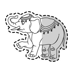 Circus elephant icon. Carnival fair entertainment and performance theme. Isolated design. Vector illustration