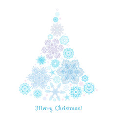 Christmas tree from snowflakes. Good for greeting card for birth