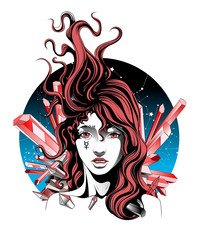 girl with flying hair symbolizes the planet mercury