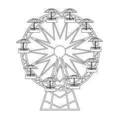 Ferris wheel icon. Carnival fair circus entertainment and festival theme. Isolated design. Vector illustration