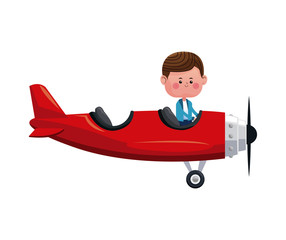 boy fly red airplane lovely vector illustration eps 10