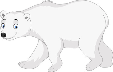 Cartoon polar bear isolated on white background