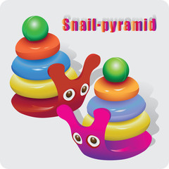Snail. Pyramids for kids. Vector image of toy for young children. Design for flyers, leaflets.
