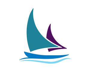 blue sail ship icon
