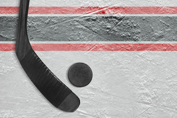 Black stick and puck on the ice