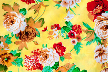 Texture, background. textiles. cotton cloth. bedding, flowers on