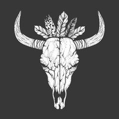 Bull skull with feathers native Americans tribal style. Tattoo blackwork. Vector hand drawn illustration. Boho design