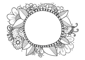 doodle lines hand drawn frames vector illustration