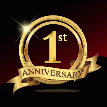 1 years golden anniversary logo celebration with ring and ribbon.