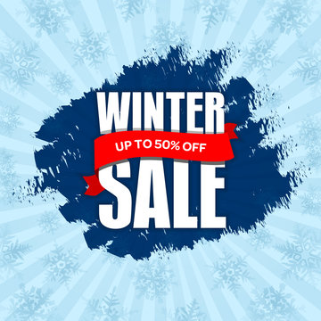 Winter sale badge, label, promo banner template. Up to 50% OFF discount offer. Vector illustration.