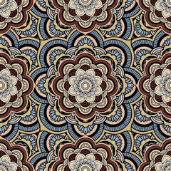 Seamless repeating pattern consisting of colored mandal.Vector