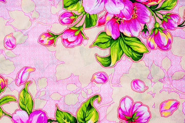 Texture, background, fabric cotton pink flowers on a pink backgr