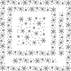 Set of snowflakes frames and elements. Two square decorative frame borders, vertical and horizontal lines and seamless pattern. Vector illustration.