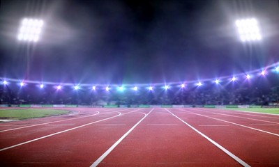 Empty stadium illustration with running track under spotlight at night