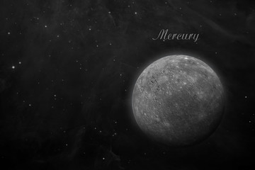 Planet Mercury. Space background.
