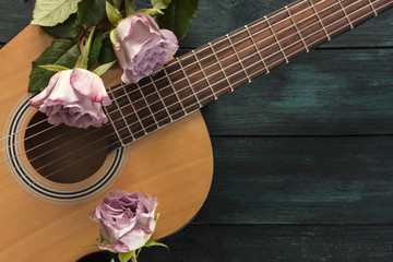 Guitar neck with tender pink roses on dark background