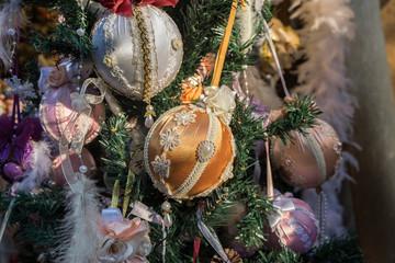 Christmas tree with glass Christmas decorations