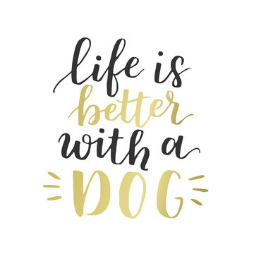 Dog adoption hand written lettering. Brush lettering quote about the dog Life is better with a dog . Vector motivational saying with black and golden ink on white isolated background.