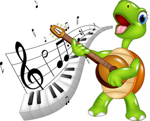 Cartoon happy turtle singing with piano keyboard