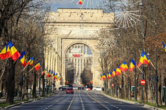 The Arch of Triumph (Arcul de Triumf) from Bucharest Romania, National Day