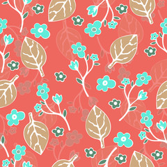 Abstract flowers and leaves seamless pattern, vector background. Hand drawing for design of wallpaper, fabric, wrap
