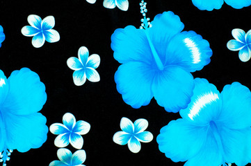 Texture. Background. Woolen fabrics. Blue and white flowers on a